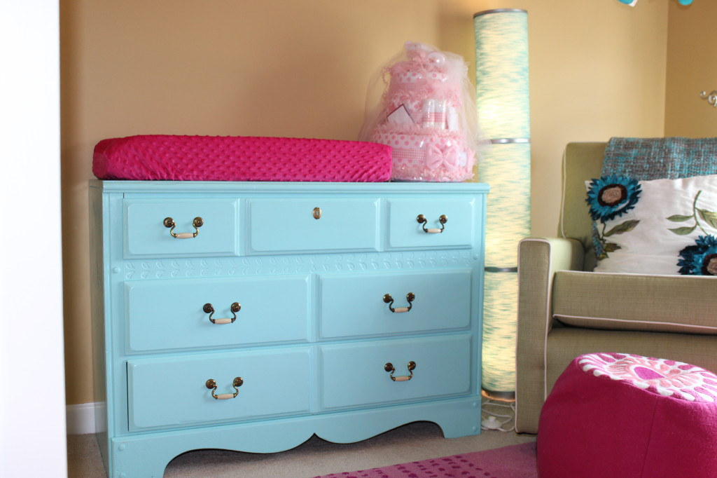 Teal and Pink Girl Nursery Changer