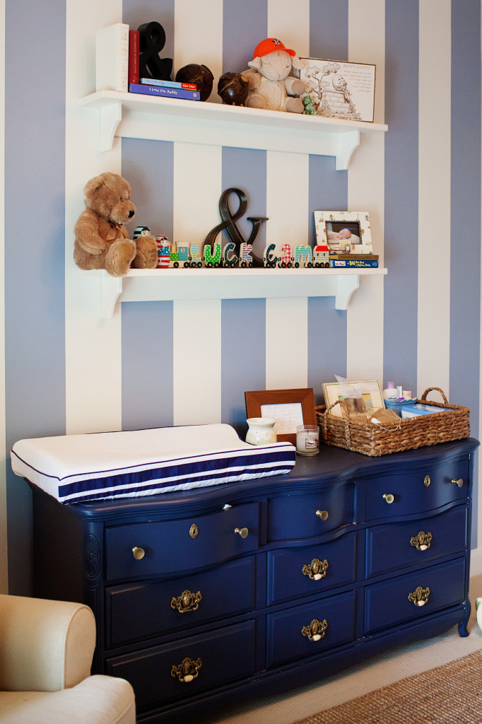 Twin Boy Striped Gray Nursery Changer