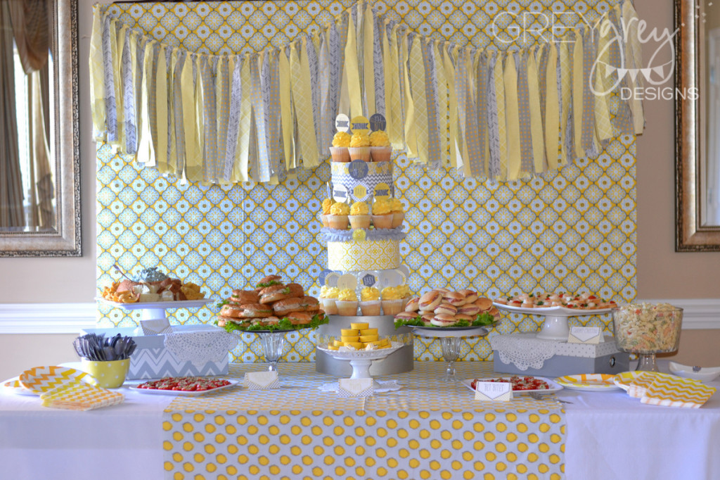 yellow and gray baby shower by brittany greygrey designs