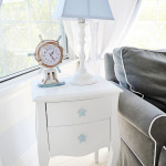 White Nightstand with Blue Star Knobs and Ship Wheel Pulley Rope Nautical Clock