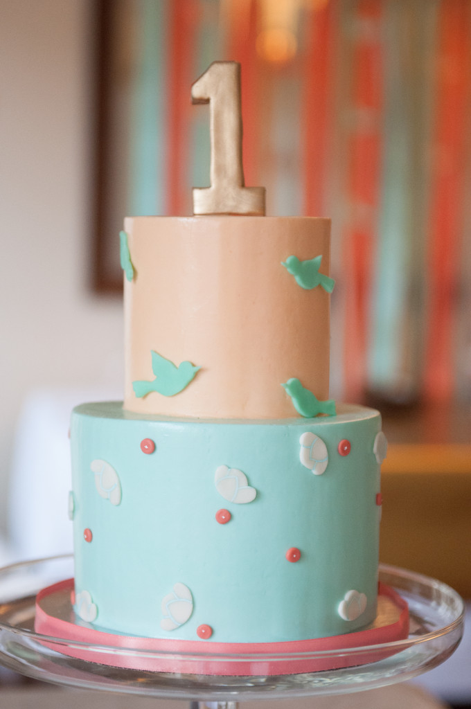 Peach and Sea Foam Blue Birdie First Birthday Cake