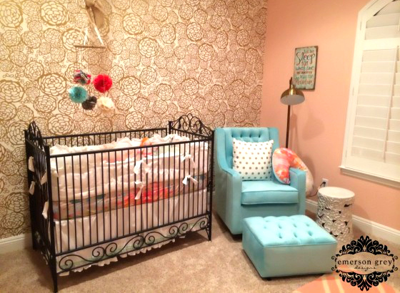 Gold and Coral Nursery with Floral Wallpaper Accent Wall - Project Nursery