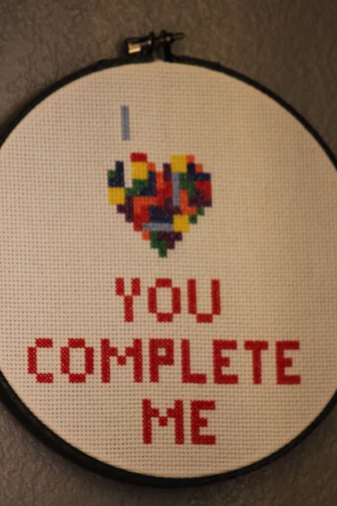You Complete Me Cross Stitch Art