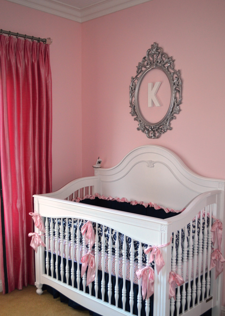 Navy and Pink Nursery with Vintage Furniture and Silver Accents