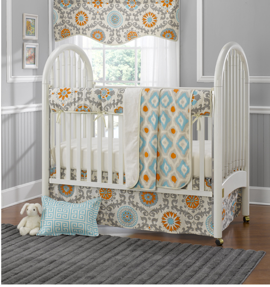 Mandarin Damask Crib Bedding by Liz and Roo