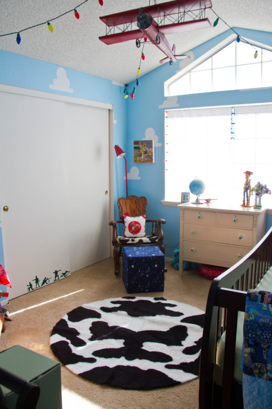 Toy Story Nursery with Cloud Stencil and Cowhide Rug - Project Nursery