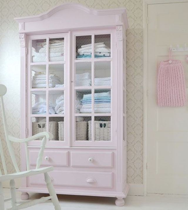 Pale Pink Painted Armoire
