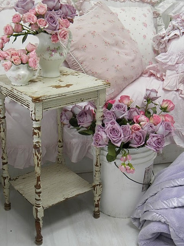 Beautiful Shabby Chic Bedroom with Pink and Purple Flower Arrangements