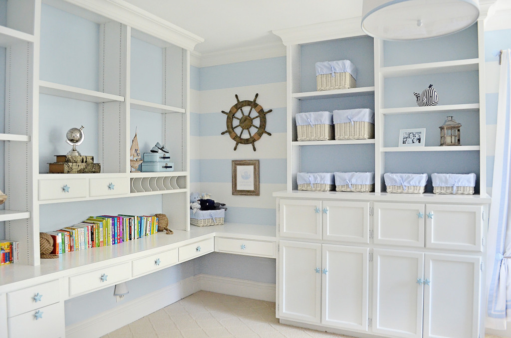 Blue and White Nursery with Built-In Corner Desk - Project Nursery