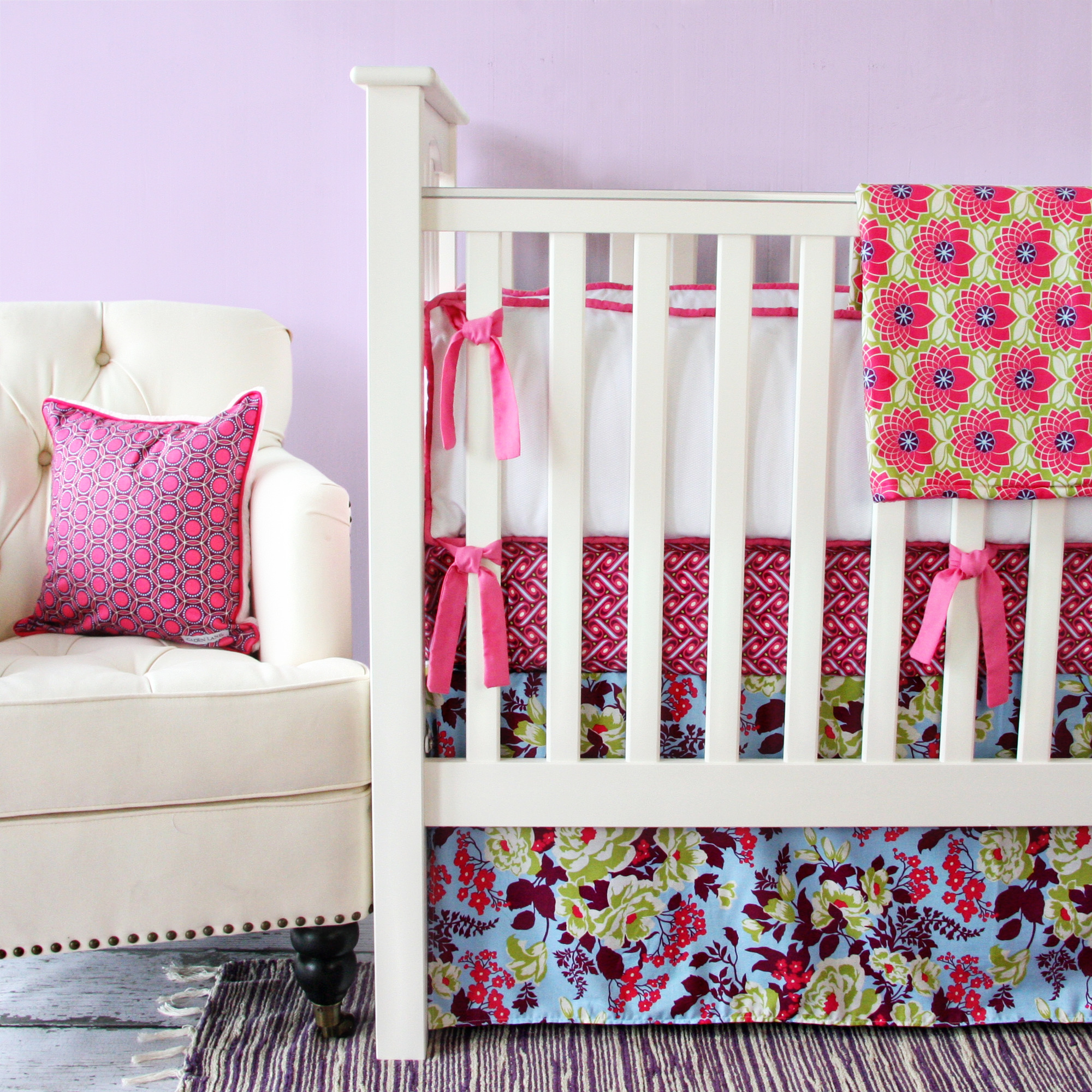 Beautiful Plum Crazy Crib Bedding Set from Caden Lane