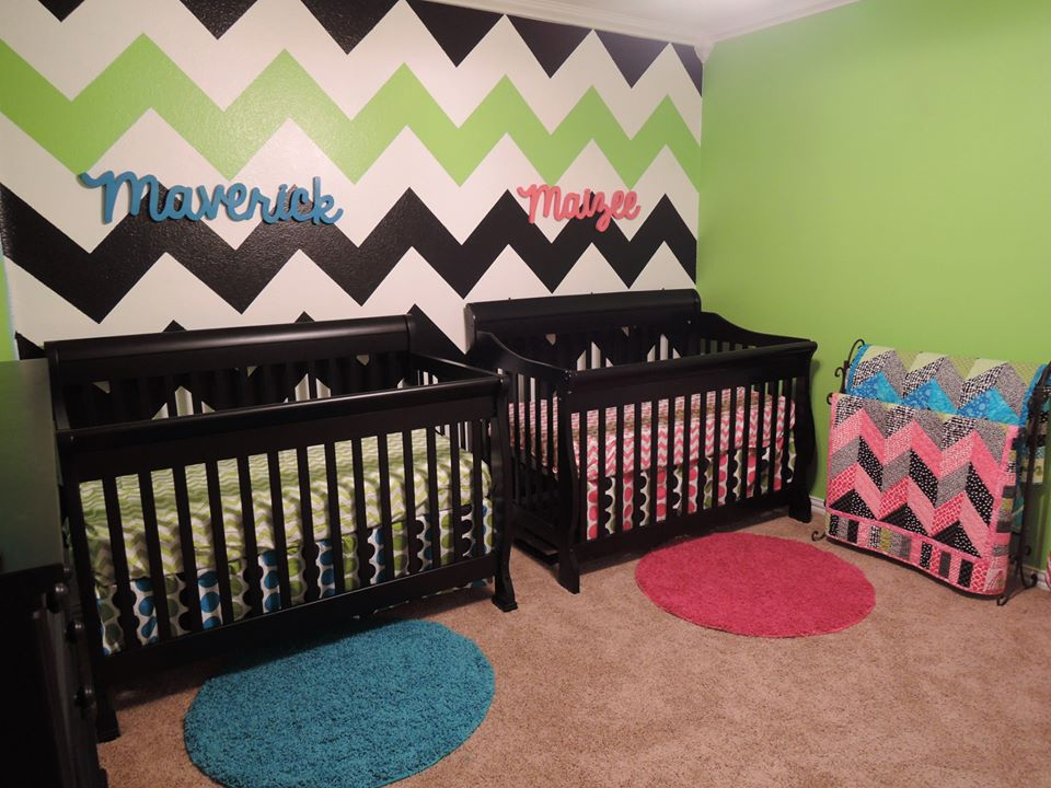 Boy Girl Twin Chevron Nursery