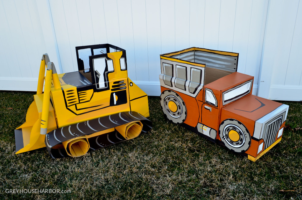 DIY Cardboard Bulldozer and Dump Truck