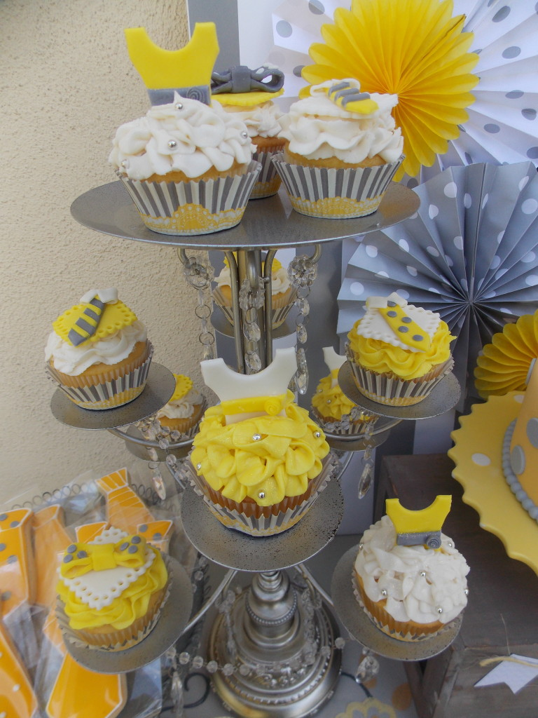 Gray and Yellow Cupcakes