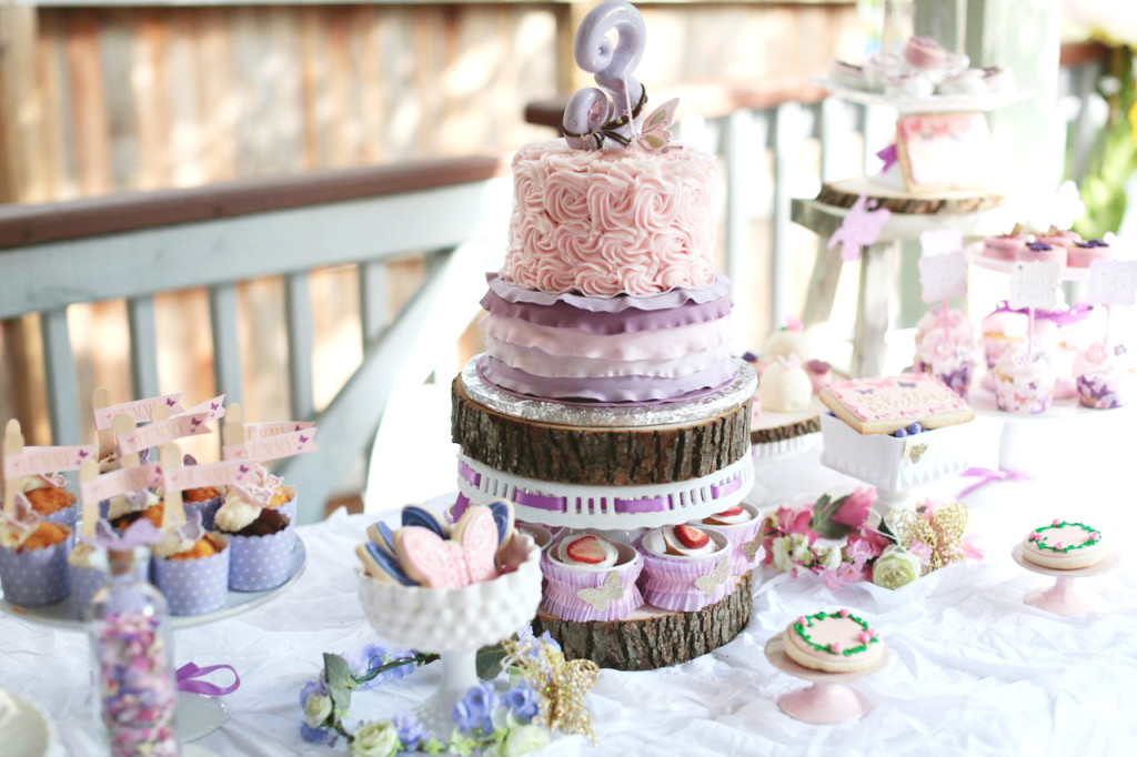Pink and Purple Woodland Birthday Party Cake - Project Nursery