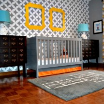 Modern Gray Nursery with Card Catalogs - Project Nursery