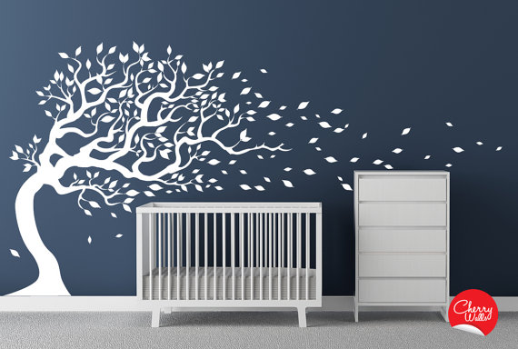 Charmant Blowing White Tree Nursery Wall Decal