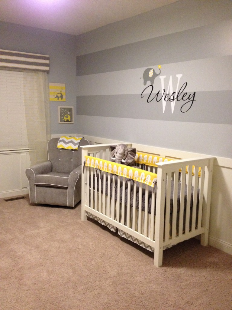 Grey And Yellow Baby Boy Nursery: Elephant Baby Nursery