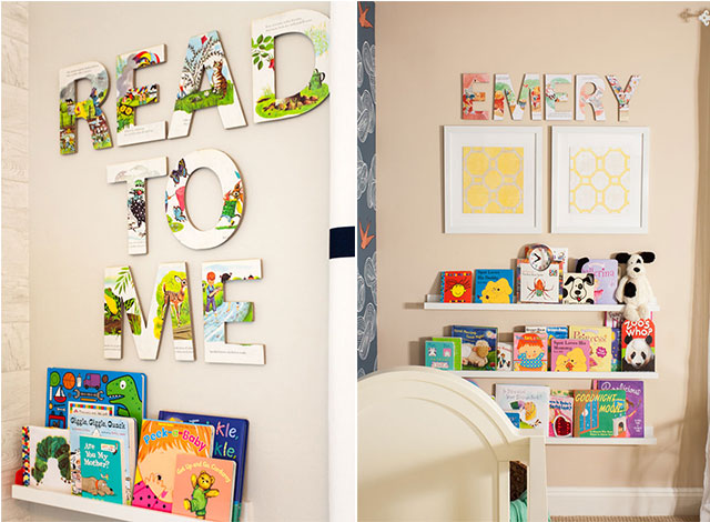 Nursery Library with Vintage Story Book Letters