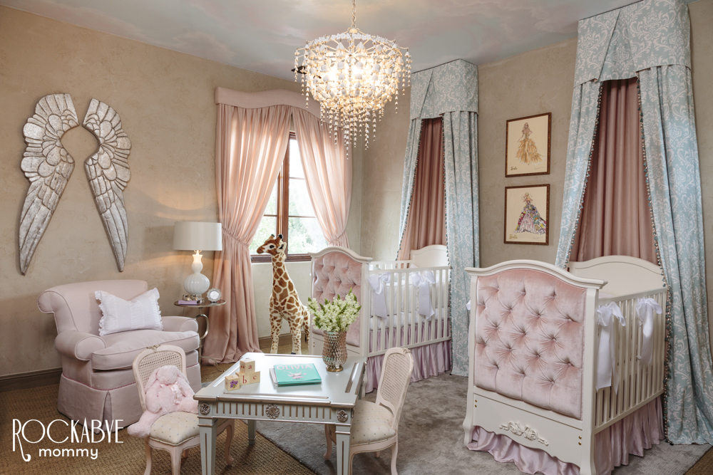 Pink Twin Nursery With Silver Angel Wings Project