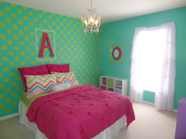 Colorful Big Girl Room with Polka Dot Accent Wall - Project Nursery
