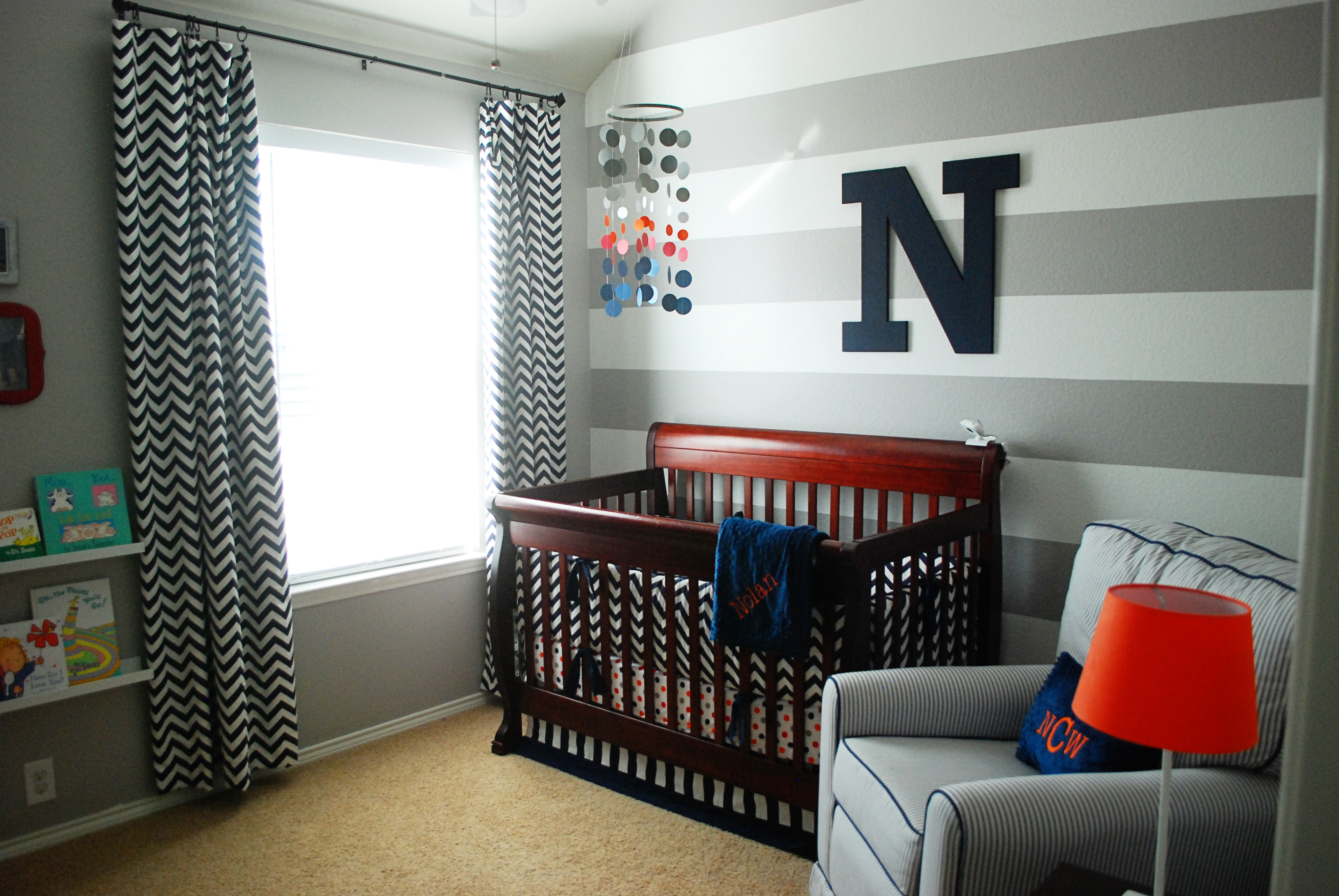 Nolan 39 s grey white and navy baby boy nursery project - Curtains for boy toddler room ...