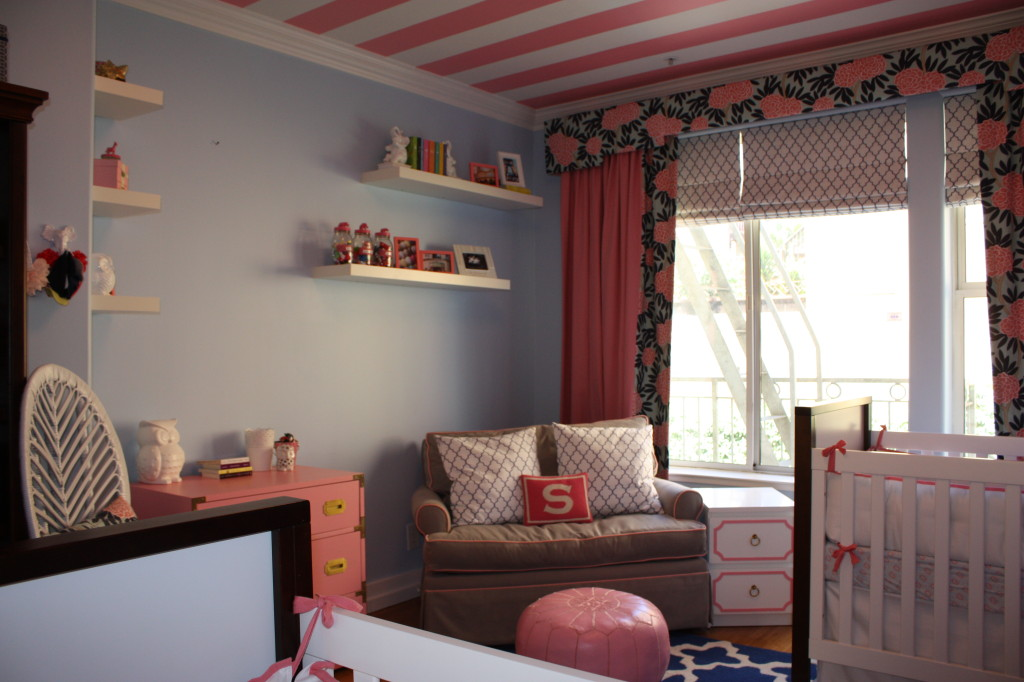 Pink and White Striped Nursery Ceiling
