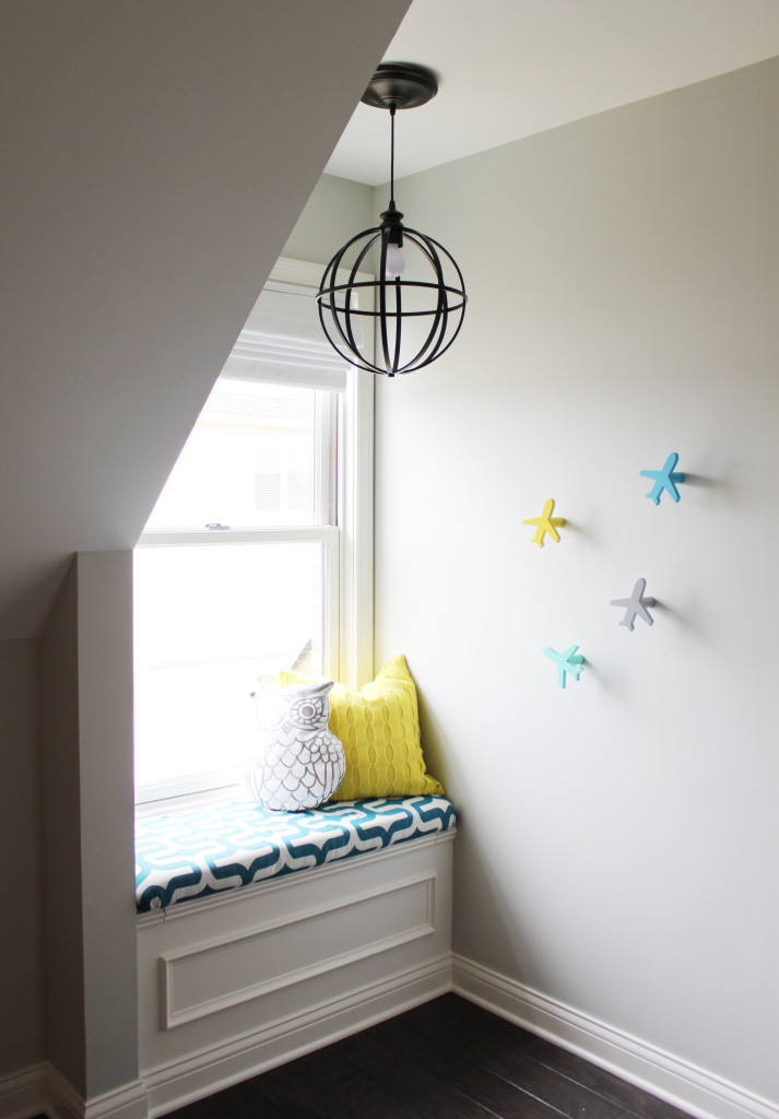 Cozy Nook and Window Seat in this Modern Nursery