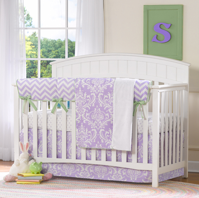 Cool Lavender Damask Crib Bedding from Liz and Roo