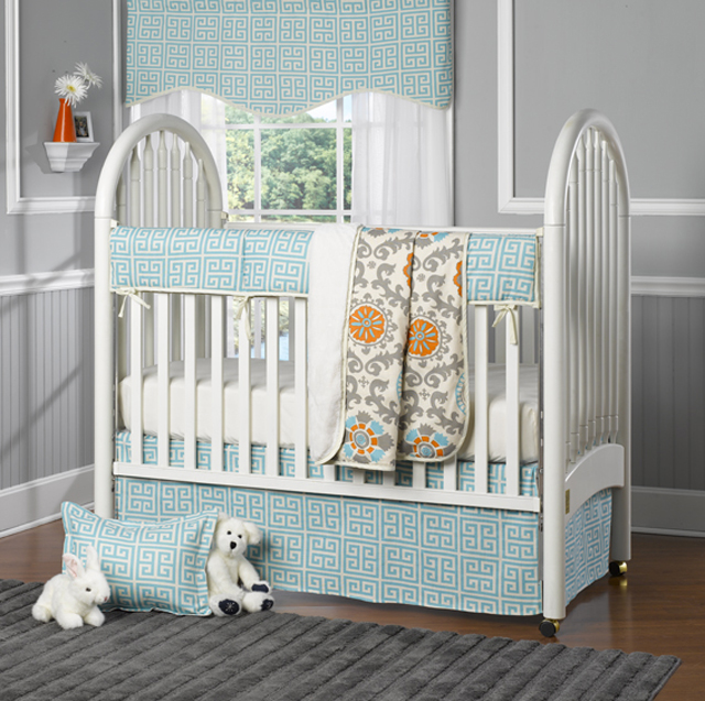 Fancy Aqua Greek Key Crib Bedding from Liz and Roo