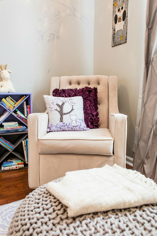 Reading Nook In Purple And Taupe Nursery