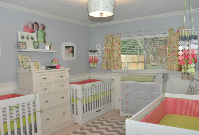 Pink, Green and Gray Triplet Nursery - Project Nursery