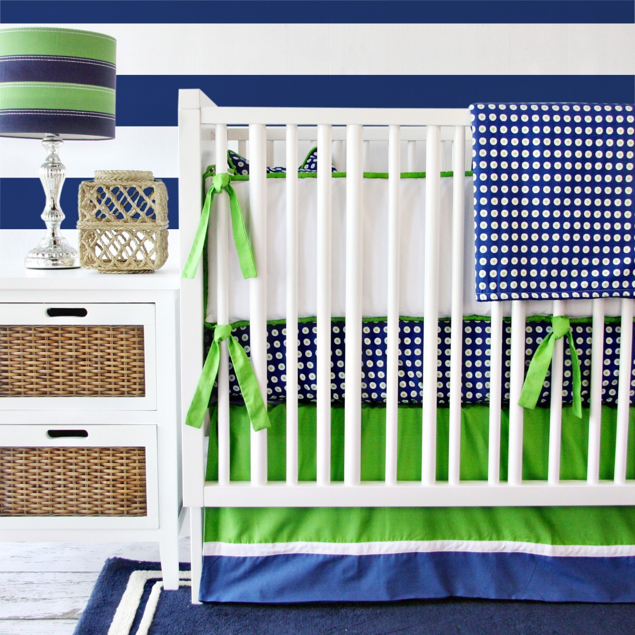 Navy Blue and Green Crib Bedding Set by Caden Lane