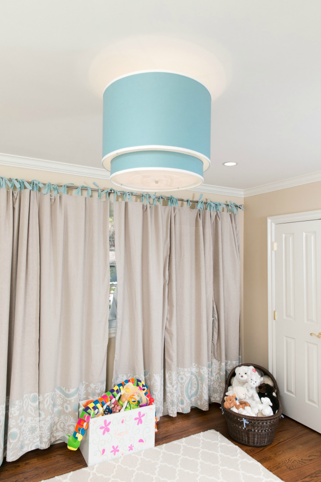 Nursery with Aqua Ceiling Light