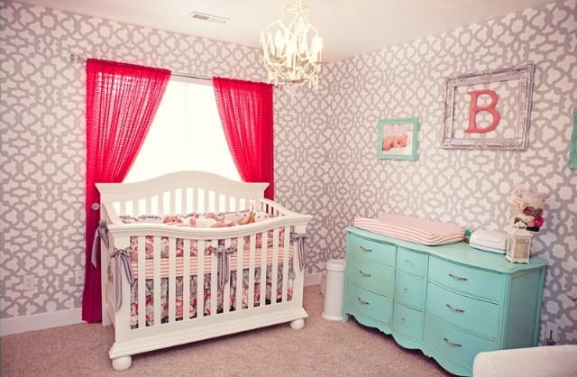 Glam Coral, Turquoise and Gray Nursery - Project Nursery