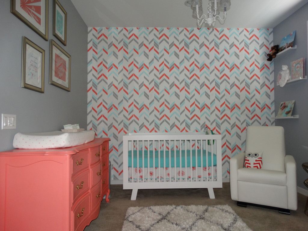 Noelle S Coral Aqua And Gray Nursery With Gold Accents
