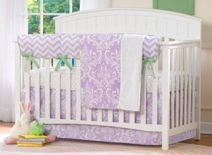 Lavender Damask Crib Bedding from Liz and Roo