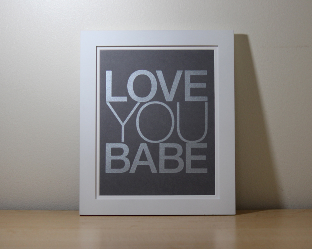 Love You Babe Nursery Wall Art from Moozega