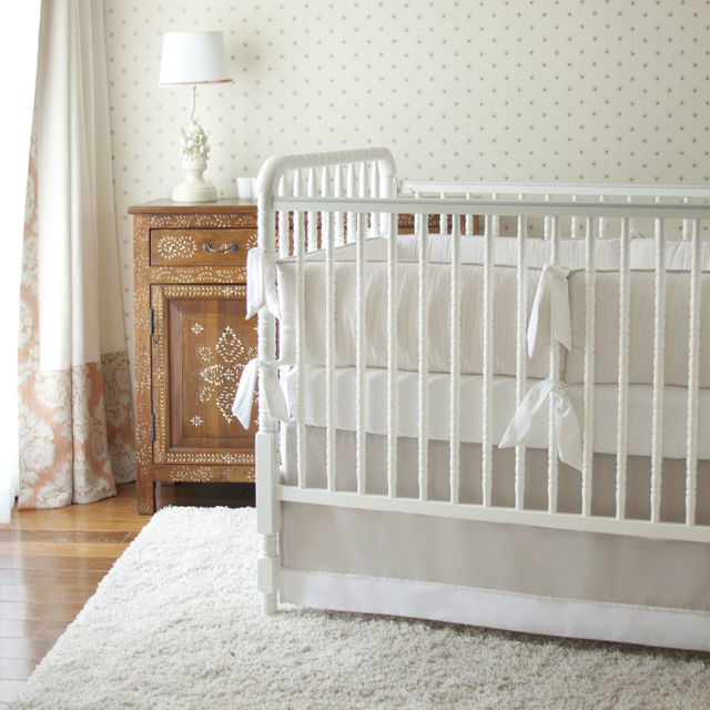 Neutral Nursery with White Shag Rug