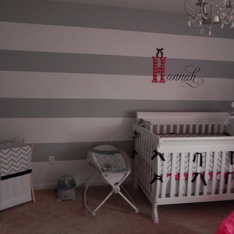 Gray and White Striped Accent Wall