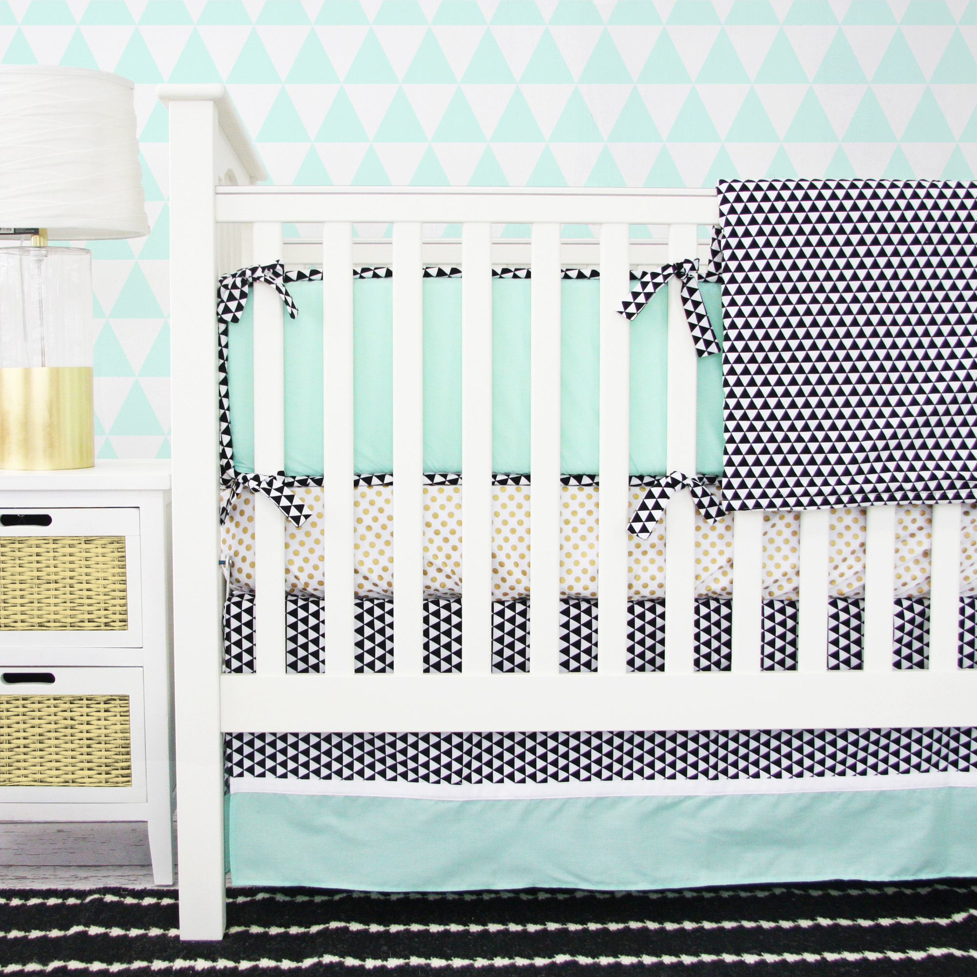 Eclectic Mint Crib Bedding from Caden Lane