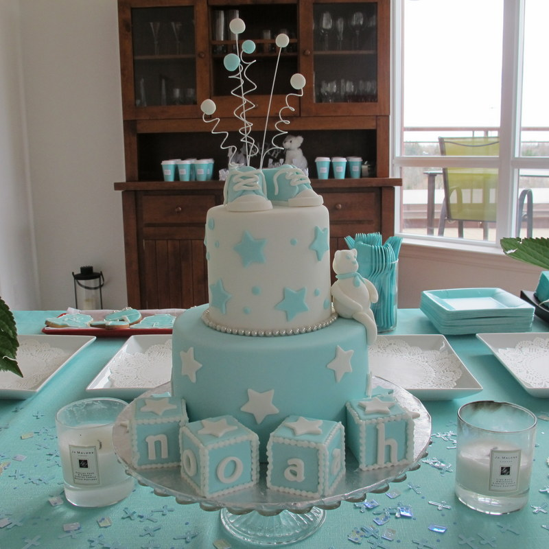 Tiffany Blue Themed Christening Cake