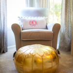 Gold Moroccan Pouf in this Whimsical Nursery
