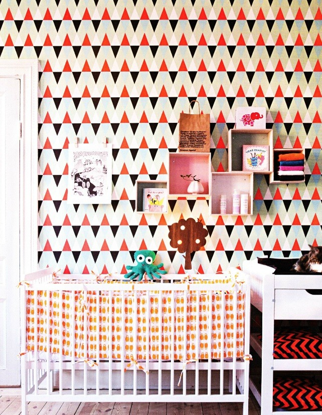 Nursery with Geometric Triangle Wallpaper