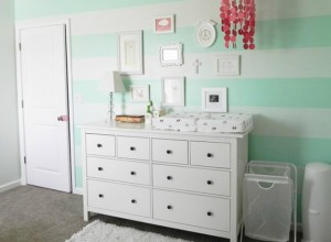 Nursery with Mint Striped Accent Wall - Project Nursery