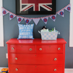 Bright Red Dresser in this British Nursery