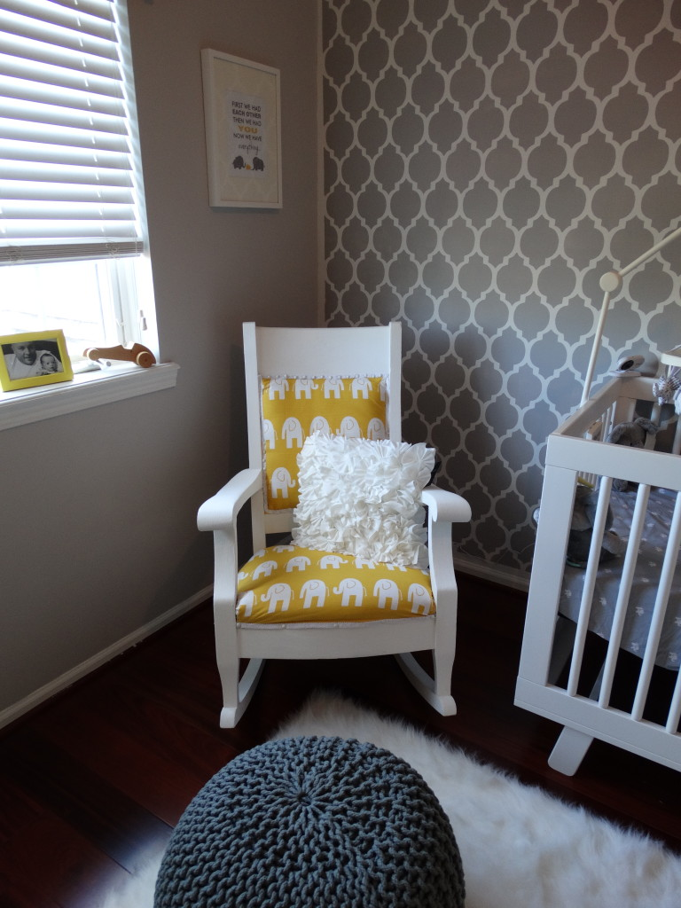 Reupholstered and Repainted Rocking Chair with Annie Sloan Chalk Paint