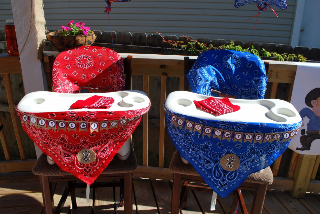 Western Inspired High Chair Decoration Using Bandanas