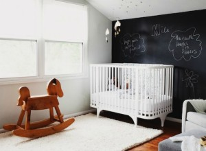 Black and White Nursery with Chalkboard Wall