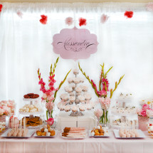 Pink and White Doily Inspired Baptism and 1st Birthday Party