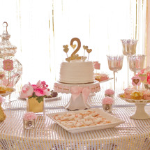 Pink and Gold Birthday Party Dessert Table
